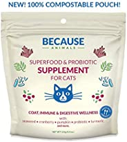Because Animals Superfood & Probiotic Supplement for Cats (4.4oz) – All-Natural, Human-Grade Ingredients –
