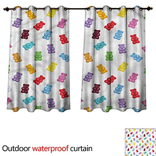 cobeDecor Sweet Outdoor Balcony Privacy Curtain Jelly Bears Colorful Yummy W84 x L72(214cm x 183cm)