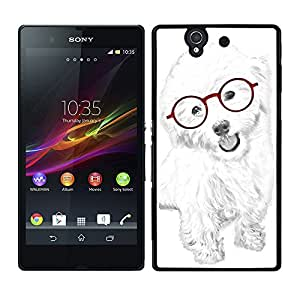 Funda carcasa para Sony Xperia Z diseño perro blanco con gafas rojas borde negro