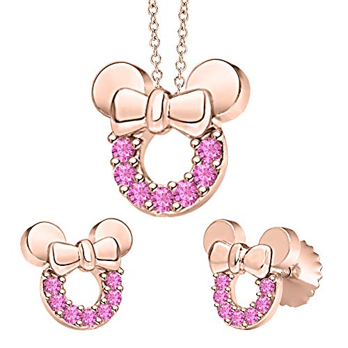 - tusakha Minnie Mouse Bow Pendant Necklace Earrings Set Pink Sapphire 14k Rose Gold Over .925 Sterling Silver for Womes Girls