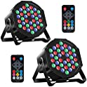 2-Pack MOSFiATA RGB 36 LED DJ Stage Light Sound 7 Modes Uplighting
