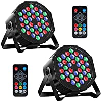 MOSFiATA 2-Pack RGB 36 LED DJ Stage Light Sound Activated 7 Modes Uplighting