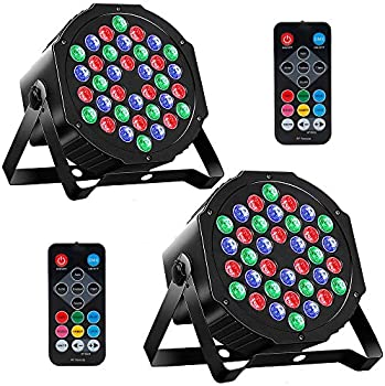 2-Pack MOSFiATA RGB 36 LED DJ Stage Light Sound 7 Modes Uplighting