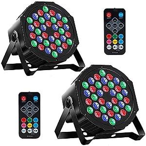 Flashandfocus.com 51Eudfymw3L._SS300_ MOSFiATA 2 Pcs Par Lights, RGB 36 LED Stage Lights Sound Activated DMX Control, 7 Modes Uplighting Lights with Remote…
