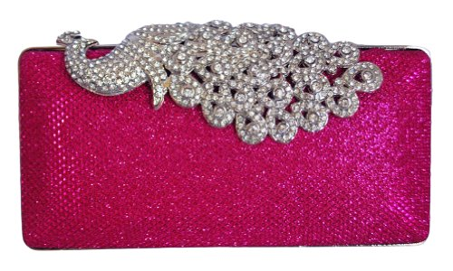 Fuchsia Chicastic Wedding Hard Box Cocktail Mesh Peacock Pink Clutch Purse Rhinestone wznrUOxqz