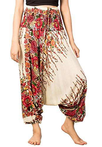 Lofbaz Women's Floral Printed Smock Waist 2 in 1 Jumpsuit Pants Ivory M