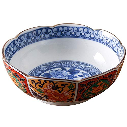 ChenDZ Large Soup Ramen Noodle Bowl Fruit Salad Cereal Dessert Serving Bowl Retro Palace Style Ceramic Tableware Hand Painted Colorful Bowl Gift Souvenir Alms Bowl (Size : 4.7 inches)