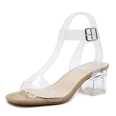 3fe551c7347 Amazon.com | CYBLING Womens Mid Block Chunky Heel Lucite Clear Ankle ...