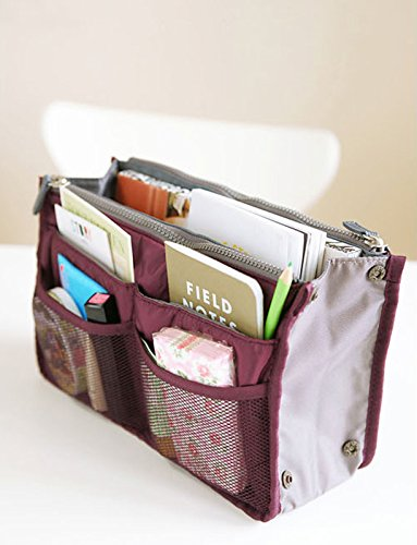All-match Portable Multi-function Handbag Pouch Bag in Bag Organiser Insert Organizer Tidy Travel Cosmetic Pocket (Wine Red)