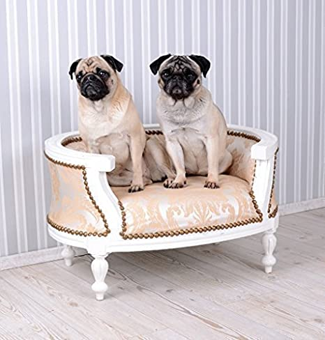 Cama para perros barroco Perros sofá cama color crema para Carlino & Bully