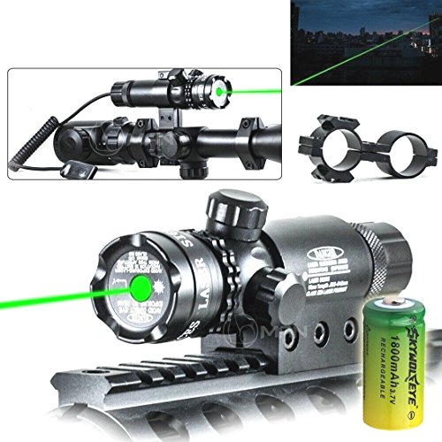 Hunting Tactical Green Laser Sight Rifle Gun Scope Rail +Remote Switch +Battery