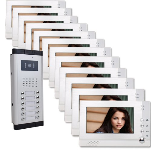 Twelve Units Apartment Video Intercom with Auto Visitor Photo Memory Doorbell Security by Angel