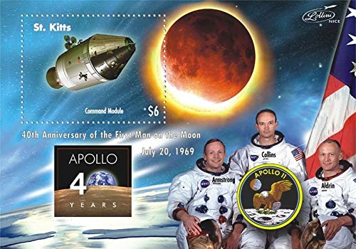 Apollo 11-40th Anniversary of The Moon Landing - Limited Edition Collectors Stamps - St. Kitts