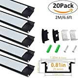 LightingWill 20-Pack U-Shape LED Aluminum Channel System 6.56ft/2M Anodized Black Profile for <20mm width SMD3528 5050 LED Strips with Oyster White Cover, End Caps and Mounting Clips U03B20