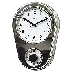 BAI Retro Kitchen Timer Wall Clock, Chrome Silver