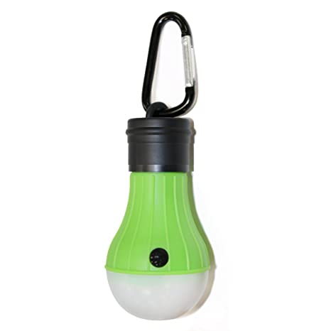 Linterna en forma de bombilla LED con mosqueton. Funciona a pilas (incluidas)