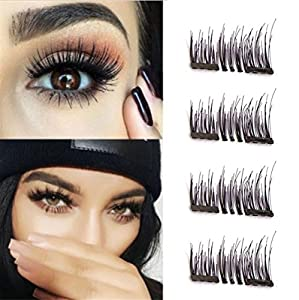 Dual Magnetic Eyelashes - 1 Pairs (4 Pieces) Cover the entire eyelids , No Glue,3D Reusable Fake Eyelashes Handmade For Women Makeup Natural Look