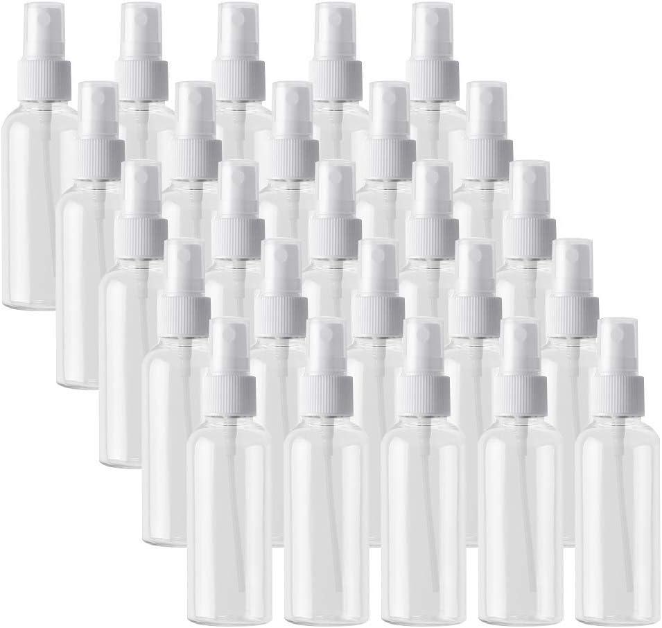 25 Tabletas Botella De Spray Vacía 50ml Atomizador De Niebla Fina Salon Salon Rociador De Viaje