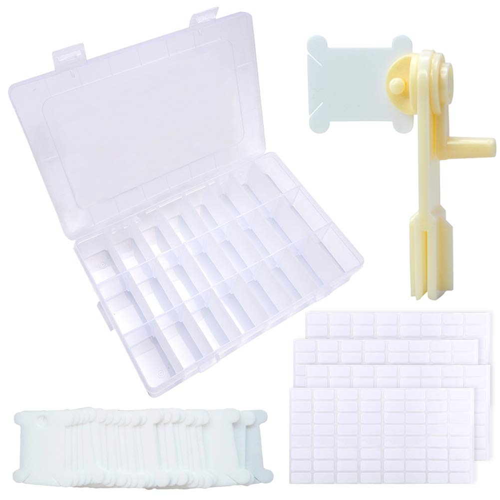 BCMRUN Floss Organizer Box ▏120 Pieces Hard Plastic Floss Bobbins with Floss Winder and 4 Piece Stickers for Embroidery Floss Cross Stitch Threads Craft DIY Sewing Storage 256