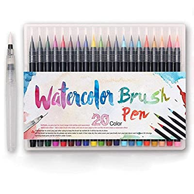 Watercolor Brush Markers Pen 36 Colors Water Based Drawing Marker Brushes W/A Water Coloring Brush, Water Colored Ink W/Soft Flexible Tip for Adult Coloring Books, Manga, Comic, Calligraphy