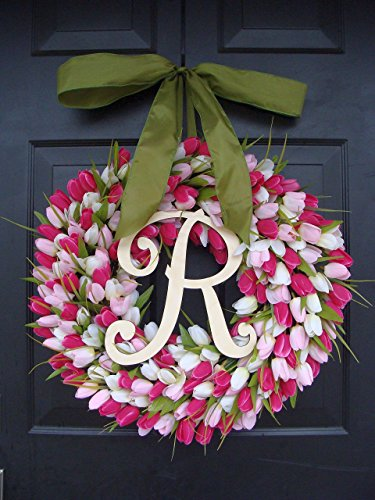 Elegant Holidays Handmade Silk Tulip Wreath w/ Monogram- Decorative Home Décor- Indoor/ Outdoor- Welcome Guests Spring, Summer with Front Door Wreaths- Great Easter Holiday Accent 16-24 inches