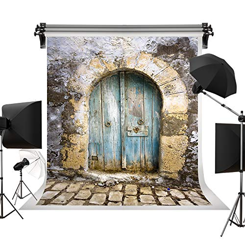 Kate 5x7ft/1.5x2.2m Spring Backdrop Retro Brick Backdrop Wooden Door Stone Wall Backgrounds Vintage Backdrops Photo Photography Studio Outdoor Scene Backgrounds