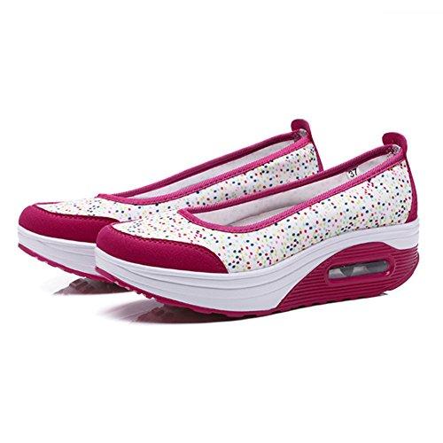 Sneaker Trabajo Blanco Casual Zapatos Fitness Rose De Out Plataforma increasing Height Tonificación Sandalias Mujer q7xwPC
