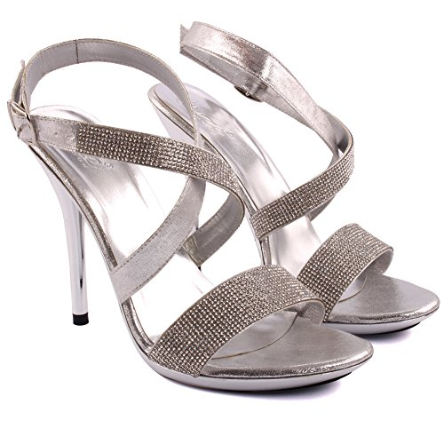 Uk Unze Rhinestone Ankle High Platform Decorated Silver 3 Party Shoe Emma Formal Closure Size 8 Cross Buckle Strap Women Ladies Toe Wedding Heel Evening Sandal qIFqRAr