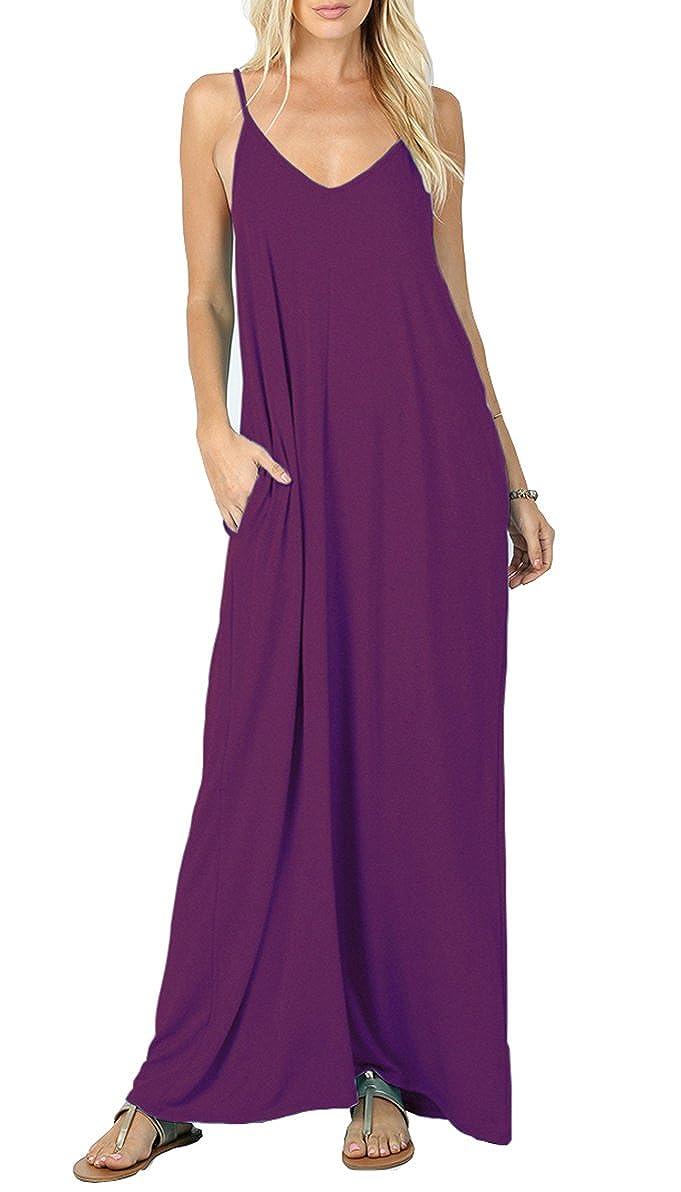09 Purple Iandroiy Women's Summer Casual Plain Flowy Swimwear Cover Up Loose Beach Cami Maxi Dresses with Pockets