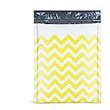 FU Global Poly Bubble Mailers 8.5x12 Inches Padded Envelopes #2 Yellow Zigzag Stripe Bubble Envelopes 25pcs