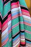 Galaxy Reborn Mexican Blanket All COTTON Striped Serape XLarge 84 x 64 in SHRIMP PREMIUM Handwoven Yoga Throw