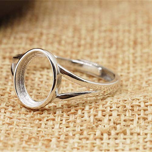 - Ring Base for 8x10mm Oval Cabochons White Gold Plated 925 Silver Adjustable Band Ring Blank JZ331