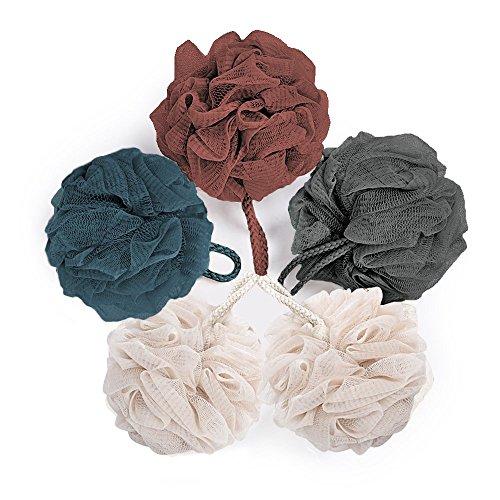 Bath Loofah & Sponge Exfoliating Mesh Ball Body Bath Pouf Shower Wash Luffa Cleanse Soft 5 Packs 40 Gram Each for Men and Women by KRRAMEL (5 Packs)