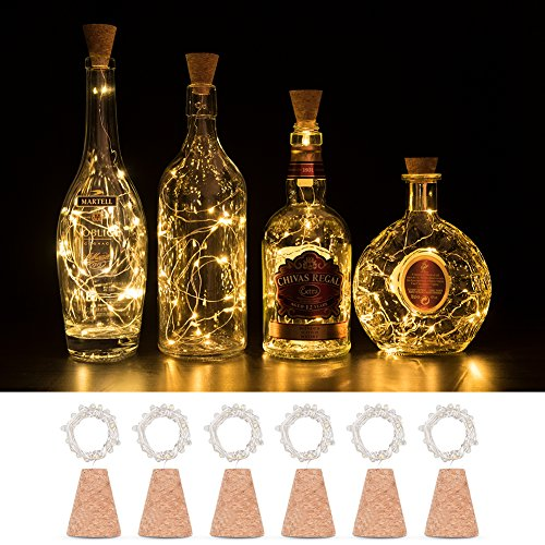Cork Lights for Wine Bottle LED 6 Pack, Timing Function 2nd Generation Silver Wire Starry Fairy Lights For Bottle DIY Christmas Halloween Wedding Birthday Party Indoor Outdoor Decoration (warm white) (Wine Bottles Halloween Decorations)