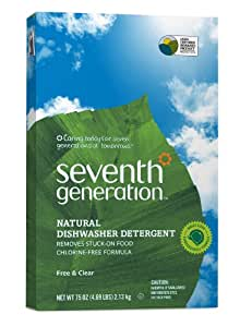 Seventh Generation Automatic Dishwasher Powder, Free & Clear, 75-Ounces Boxes, Pack of 8, Packaging May Vary
