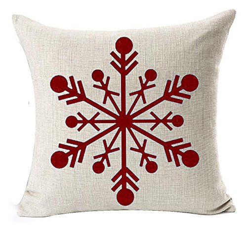Andreannie Winter Greetings Beige Ivory Shadow Beautiful Red Snowflake Merry Cotton Linen Throw Pillow Case Cushion Cover Home Office Decorative Square 18 X 18 Inches