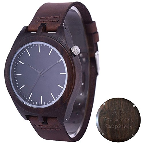 Engraved Wood Watch for Men, Leather Strap Personalized Wood Watch, Groomsman Gift Wooden Watch (Personalized Leather Engraved)