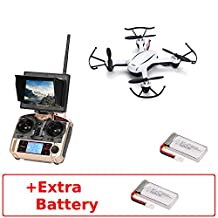 JJRC H32GH (+Extra Battery) Mini 5.8Ghz High Range FPV with LCD Monitor RTF RC Quadcopter Drone One Key Return/Headless Mode 3D flips 2.0MP Camera (Pearl White)
