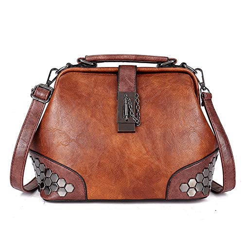 MnSue Gothic Rivet Studded Vintage Doctor Cross Body Convertible Bucket Shoulder Handbag