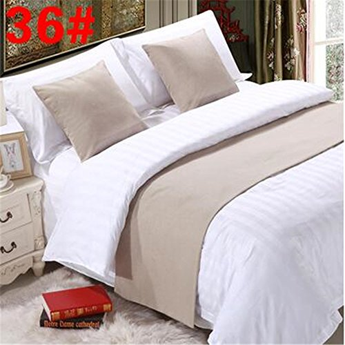 YIH Bed Runner Khaki 3 Pcs Set, Luxury Bedding Scarf Pad Decorative Table Runner Bed Protector Slip Cover for Pets, 1 Bed Runner + 2 Cushion Cover, 94 Inches By 19 Inches by YIH