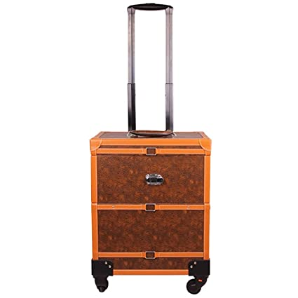 Vintage Make-up Travel Case PU Leather Lockable Luggage Artist Cosmetic Trolley Train Organiser on