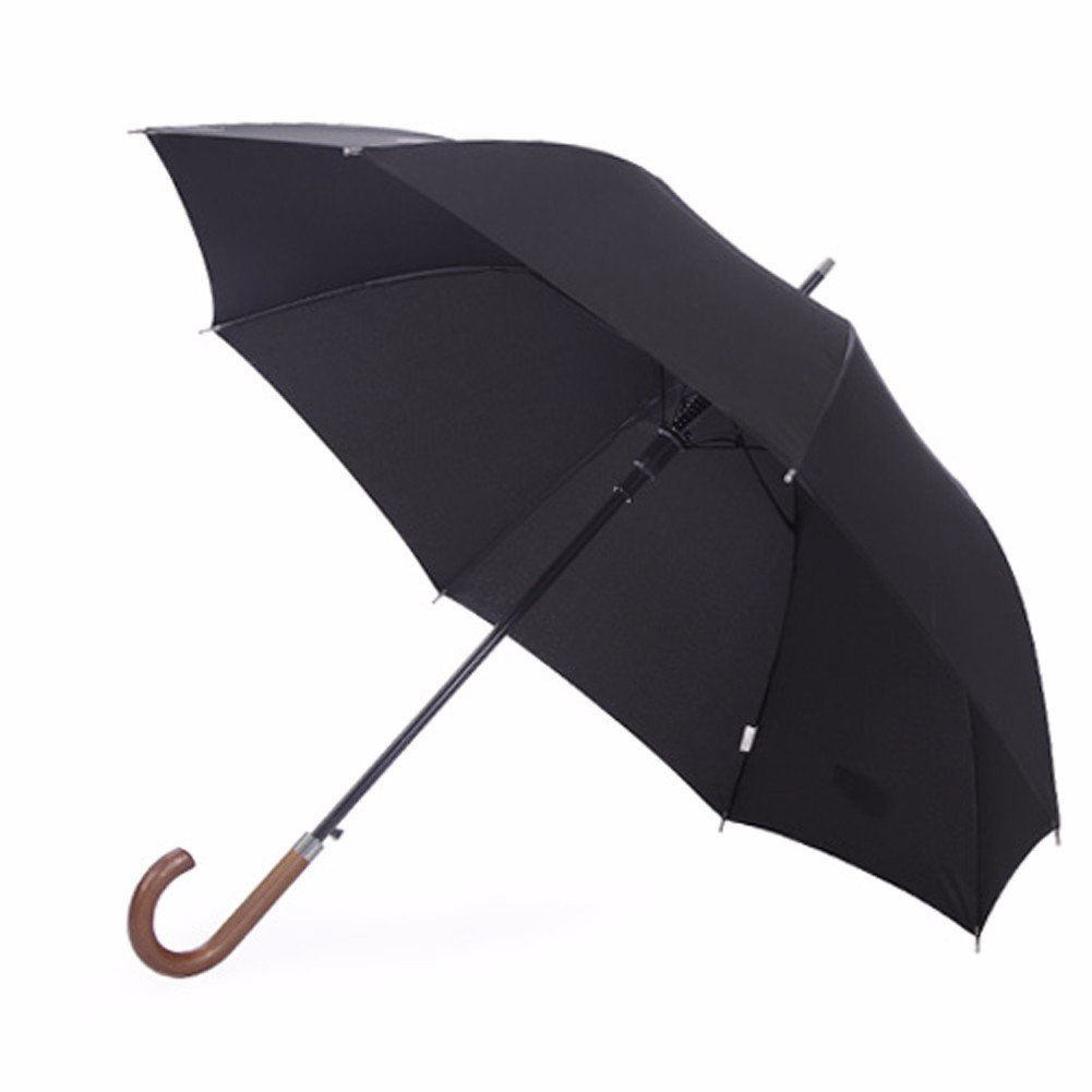 SSBY Japanese automatic umbrella with wooden handle strong wind long handle high force GE business men bar explosion-proof umbrella,Black