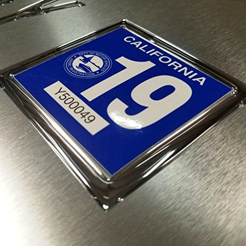 Blank Yearly Tag Frame Domed Boat / jet Ski Registration Tag Yearly Chrome Set 3