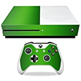 MightySkins Skin For Microsoft Xbox One S - Lime Carbon Fiber | Protective, Durable, and Unique Vinyl Decal wrap cover | Easy To Apply, Remove, and Change Styles | Made in the USA