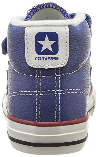 Converse Star Player 3V Leather Mid - Zapatillas de Deporte de cuero Infantil Bleu/Ecru 53