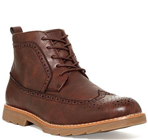 Giraldi Kash Mens Fashion Vegan Leather Longwing Boots, Brown, Size 11, US