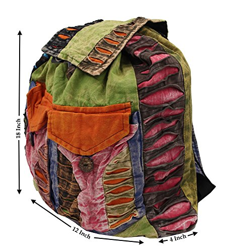 Recycled Hippe Hobo Bohemian Razor Cut Bag Backpack Hand Made Nepal (Backpack 2) by Lungta Imports (Image #3)