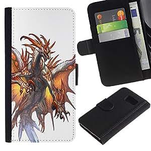 Billetera de Cuero Caso Titular de la tarjeta Carcasa Funda para Samsung Galaxy S6 SM-G920 / White Dragon Fire Wings Mystical / STRONG