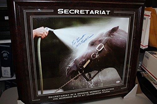 Autographed Triple Crown - Ron Turcotte Autographed Signed 16x20 Secretariat Photo Framed Bathing JSA Triple Crown