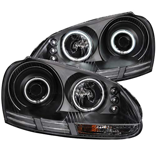 AnzoUSA 121345 Black Clear Projector halo Headlight with CCFL – (Sold in Pairs)